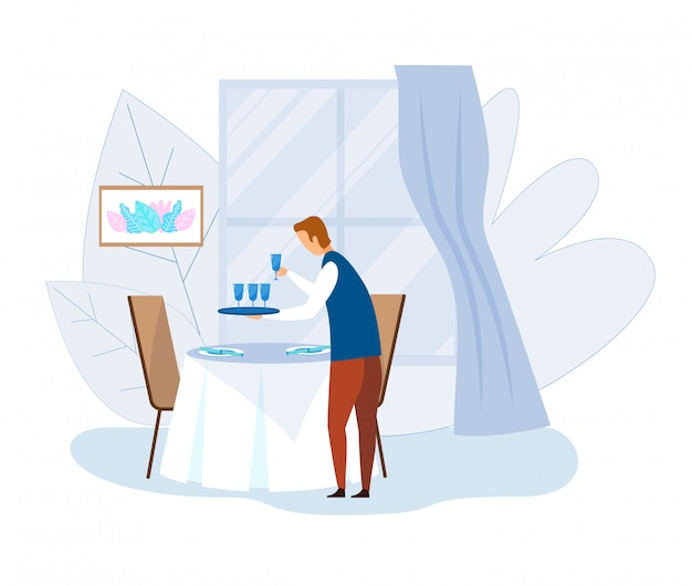 Table de service de serveur avec dessin animé de verrerie propre