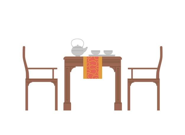 Table servie pour la cérémonie traditionnelle du thé au japon ou en chine