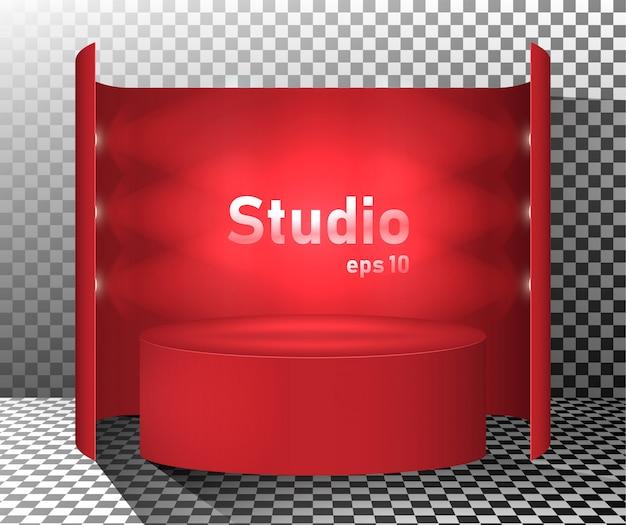 Table studio rouge éclairée par des lanternes. espace libre pour la présentation du produit.