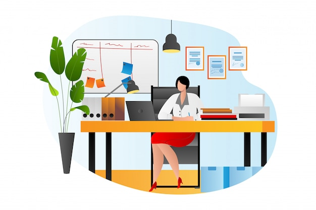Table de travail de bureau de personne d'affaires avec ordinateur, femme de travail de bureau, illustration. travail de professionnels, femme avec ordinateur portable. employé de jeune femme d'affaires, travailleur.