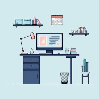 Table de travail design plat concept d'intérieur de bureau de travail avec mobilier salle de travail avec livre de chaise de table de bureau d'ordinateur et équipement fixe travail de dessin animé à domicile
