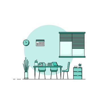 Table de travail design plat, concept d'intérieur de bureau de travail avec mobilier. salle de travail avec ordinateur, bureau, table, chaise, livre et équipement fixe. travail à partir d'une illustration de dessin animé à domicile.