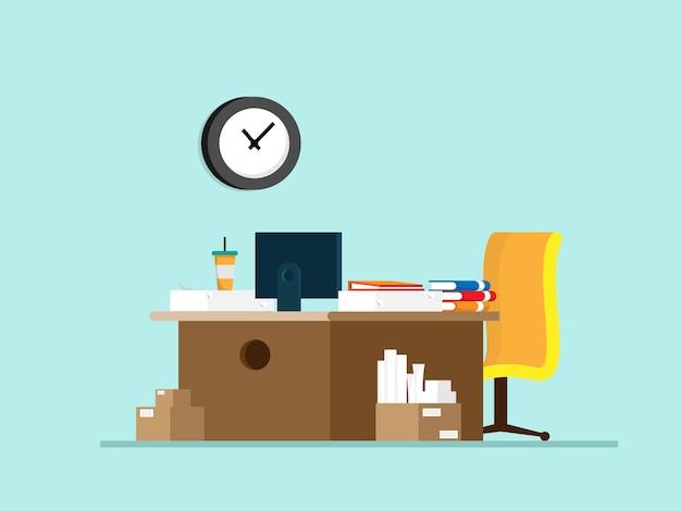Table de travail avec fournitures de bureau