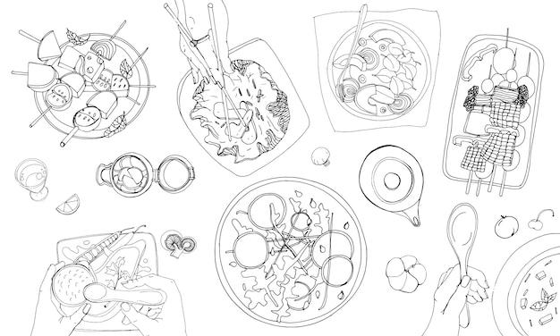 Table végétarienne festive, table dressée, illustration de contour dessiné à la main de vacances