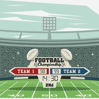 Tableau d'affichage du championnat de football sportif sur fond de stade
