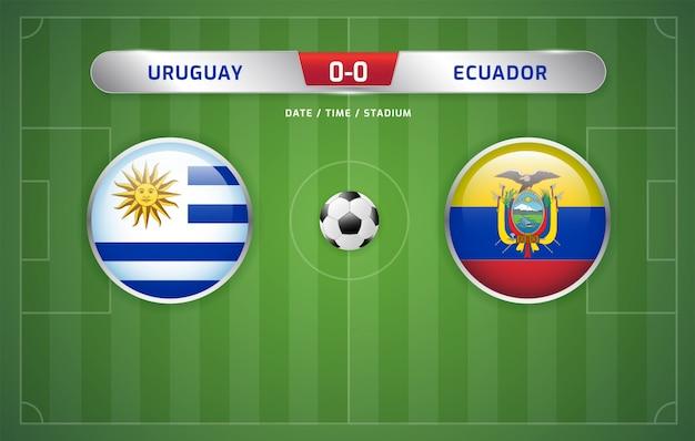 Tableau d'affichage des résultats de l'uruguay contre l'équateur sur le tournoi de football sud-américain 2019, groupe c