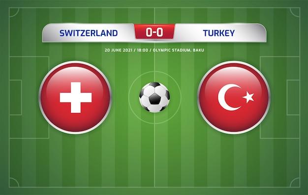 Tableau d'affichage suisse vs turquie diffusé tournoi de football 2020 groupes a