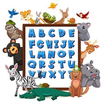 Tableau alphabet az avec animaux sauvages