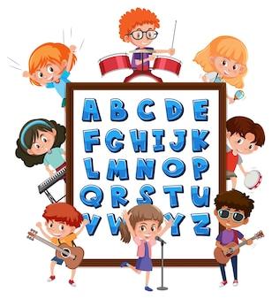 Tableau alphabet az avec de nombreux enfants faisant des activités différentes