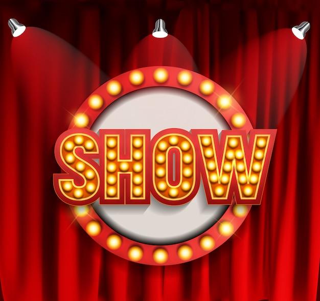Tableau d'annonce de spectacle réaliste avec cadre d'ampoule. illustration vectorielle