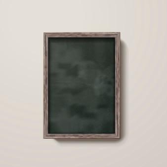 Tableau blanc avec cadre en bois isolé sur le mur en illustration 3d