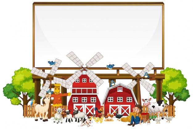 Tableau blanc dans la ferme biologique avec ensemble de ferme animale isolé