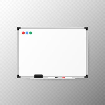 Tableau blanc vide avec marqueur, gomme éponge et aimants.