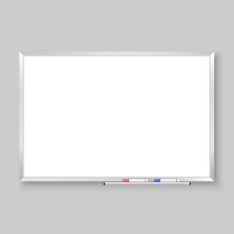 Tableau blanc vide réaliste 3d avec des marqueurs de couleur, fond de tableau blanc