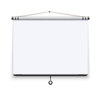 Tableau blanc vierge, écran de projection de réunion, illustration d'affichage de présentation.