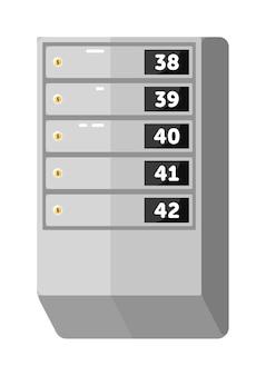 Tableau de boîte aux lettres métallique pour immeuble isolé sur blanc