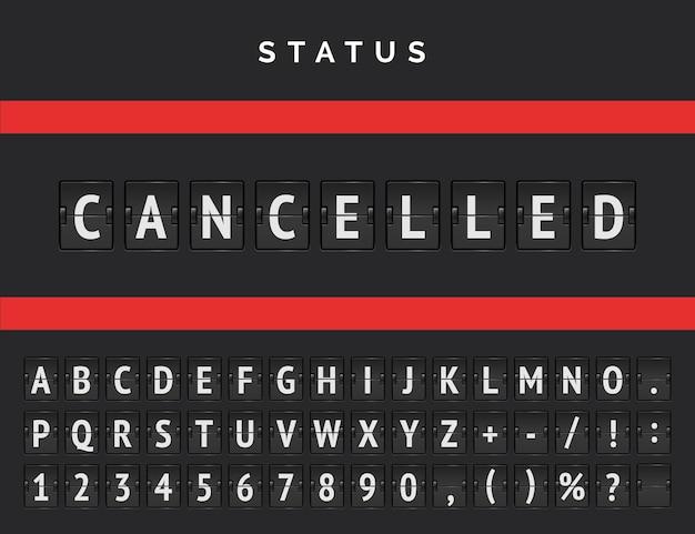 Tableau de bord de l'aéroport annonçant un avertissement en raison de départs annulés