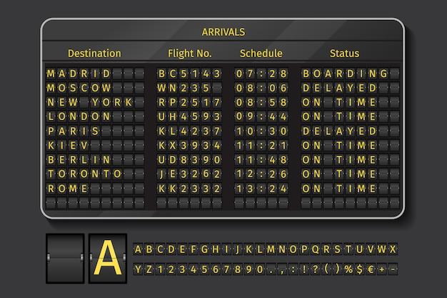 Tableau de bord d'aéroport ou de chemin de fer. afficher l'aéroport, informations avec l'heure de l'horaire, illustration vectorielle