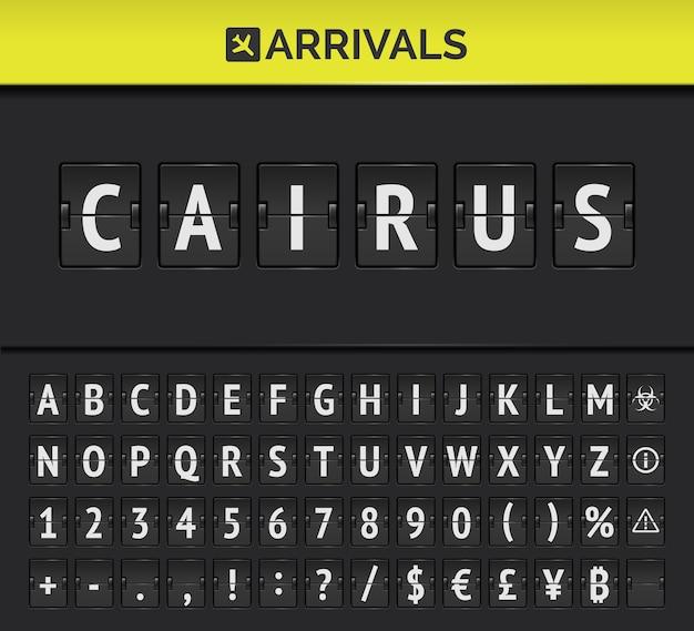 Tableau de bord analogique avec style aéroportuaire avec cairns comme destination.