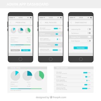 Tableau de bord de l'application moderne avec design plat