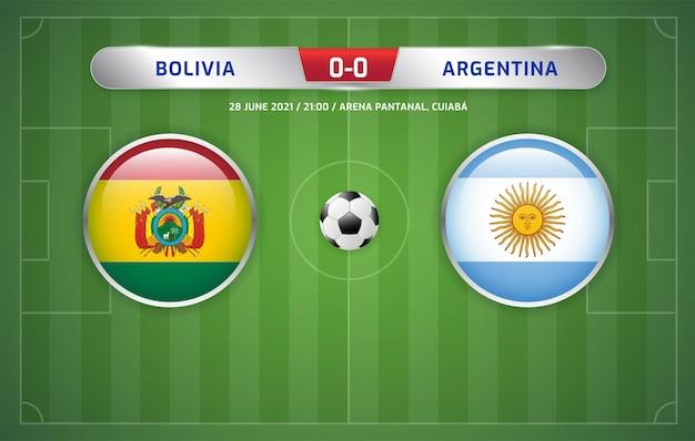 Le tableau de bord de la bolivie contre l'argentine a diffusé le tournoi de football des amériques du sud 2021