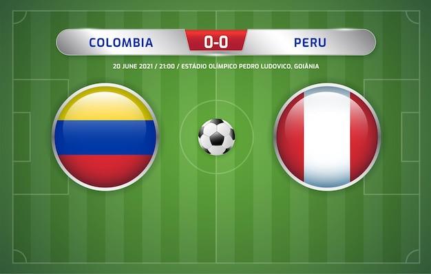 Le tableau de bord de la colombie contre le pérou a diffusé le tournoi de football des amériques du sud 2021