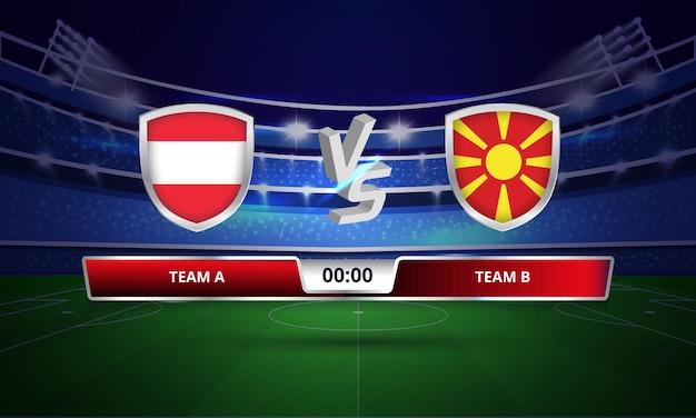 Tableau De Bord Complet Du Match De Football De La Coupe D'europe Autriche Vs Macédoine Du Nord Vecteur Premium