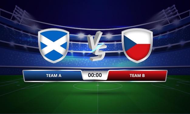 Tableau de bord complet du match de football de l'écosse contre l'écosse contre la république tchèque