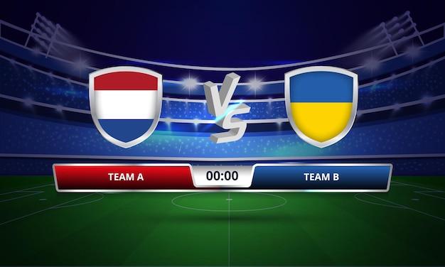 Tableau de bord complet du match de football des pays-bas contre l'ukraine