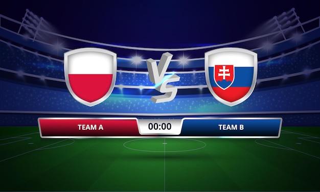 Tableau de bord complet du match de football de la pologne contre la slovaquie