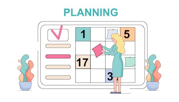 Tableau de bord du calendrier de réunions hebdomadaires de woman planning.