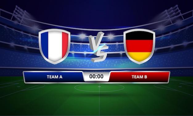 Tableau de bord du match complet de la coupe d'europe france vs allemagne de football