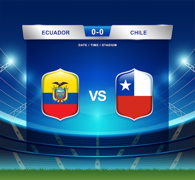 Tableau de bord de l'équateur vs chili diffusé football copa amérique