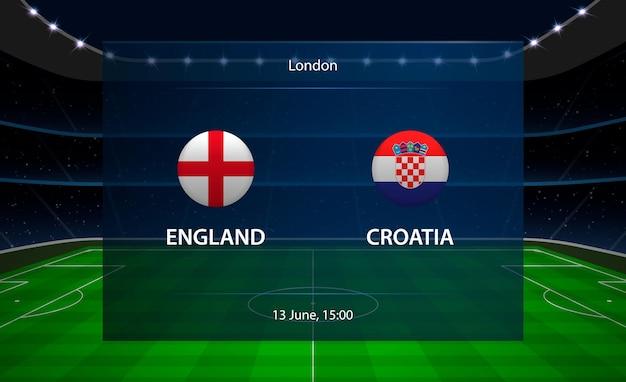 Tableau de bord de football angleterre vs croatie.