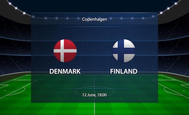 Tableau de bord de football danemark vs finlande.