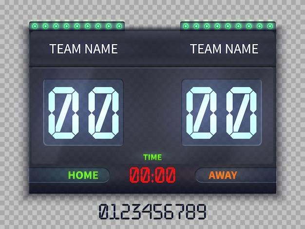 Tableau de bord football européen avec temps de match et score vector illustration isolé