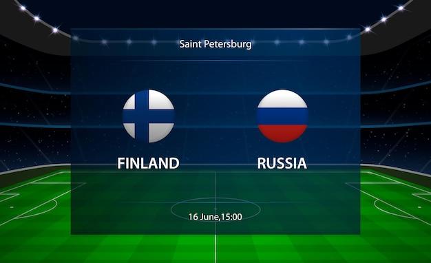 Tableau de bord de football finlande vs russie.