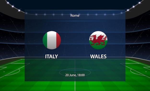 Tableau de bord de football italie vs pays de galles.