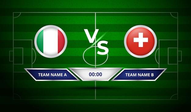 Tableau de bord de football italie vs suisse