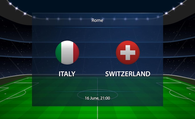 Tableau de bord de football italie vs suisse.