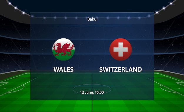 Tableau de bord de football pays de galles vs suisse.