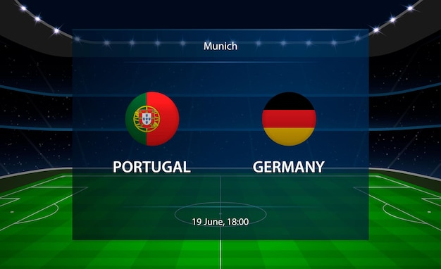 Tableau de bord de football portugal vs allemagne.