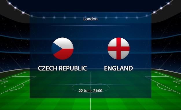 Tableau de bord de football république tchèque vs angleterre.