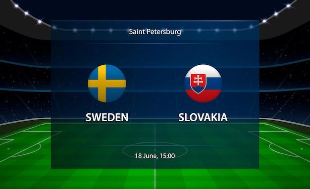 Tableau de bord de football suède vs slovaquie.
