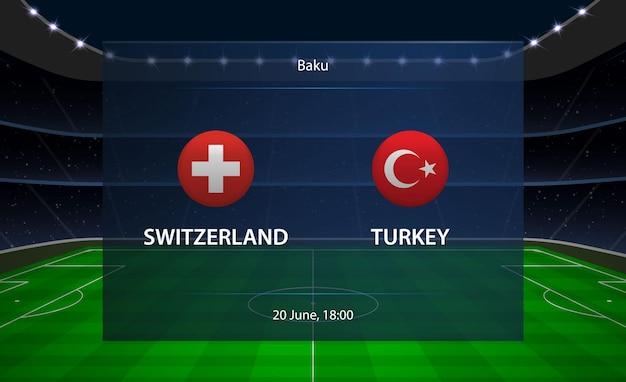 Tableau de bord de football suisse vs turquie.