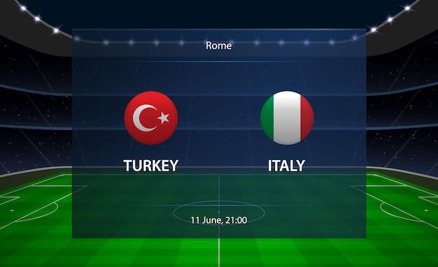 Tableau de bord de football turquie vs italie.