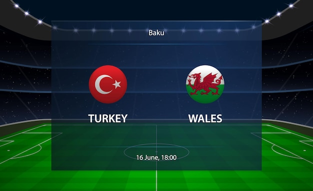 Tableau de bord de football turquie vs pays de galles.
