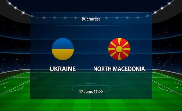 Tableau de bord de football ukraine vs macédoine du nord.