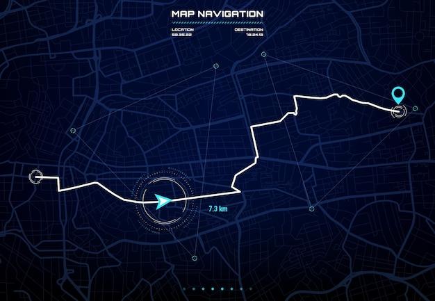 Tableau de bord d'itinéraire avec interface de navigation sur la carte de la ville. écran de navigation gps de voiture, futur affichage du système de pilote automatique avec rues et blocs de la ville, données de distance d'itinéraire, virages et balise ou marque de destination