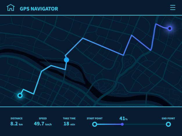 Tableau de bord de l'itinéraire. interface utilisateur d'itinéraire futuriste, navigateur de carte de suivi gps avec rue de la ville, technologie de cartographie d'interface mobile, piste de signe d'application en cours d'exécution naviguer